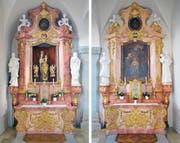 Die beiden Neorokoko-Seitenaltäre aus rötlichem Stuckmarmor in der Kirche des ehemaligen Damenstifts Schänis SG stammen von der Zuger Firma Zotz & Griessl. Sie sind in den Jahren 1910/11 gebaut worden. (Bilder: Andreas Faessler, 24. Februar 2019)