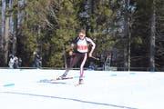 Der Schwyzer Aurel Dittli auf dem Weg zur Goldmedaille im Sprint bei der Jugend 1/2. Bild: Simon Zberg (Notschrei/GER, 30. März 2019)
