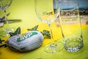 Tischdekoration beim Frühlingsfest der SVP Thurgau im Amriswiler Pentorama. (Bild: Andrea Stalder)