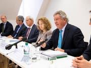 Die IWF-Delegation erläutert ihre Erkenntnisse zur Schweiz. Risiken sieht sie vor allem im Immobilienmarkt. (Bild: KEYSTONE/PETER KLAUNZER)