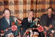 Mathäus Vetsch, Hans Spitz und Emil Hardegger als Gründer des OV Gams im Jahr 1992, es fehlt Josef Scherrer. (Bilder: Archiv OV Gams)