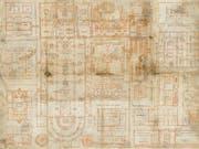 Der berühmte St. Galler Klosterplan aus dem 9. Jahrhundert wird erstmals im Original der Öffentlichkeit gezeigt. Die neue Dauerausstellung «Wunder der Überlieferung» öffnet am 13. April ihre Pforten. (Bild: Stiftsbibilothek St. Gallen)