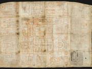 Herzstück des neuen Ausstellungsraums im St. Galler Stiftsbezirk ist der Klosterplan aus dem 9. Jahrhundert, der erstmals einem breiten Publikum gezeigt wird. (Stiftsbibliothek St. Gallen) (Bild: Stiftsbibliothek St. Gallen)