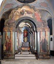 Schauarchitektur mit Tiefenwirkung: das Heiliggrab in der Niklausenkapelle in Oberwil ZG. (Bild: Stefan Kaiser, 8. April 2019)