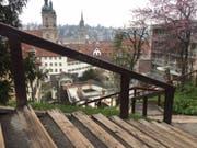 Fitness mit Aussicht: Rund 13'000 Treppenstufen führen auf die Hügel in St. Gallen. (Bild: Keystone-SDA/Silvia Minder)