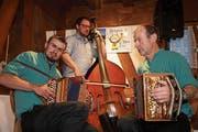 Das Trio Schächätalerbüäbä sorgte an der «Stubetä» für gute Töne. (Bild: Franz Imholz, Spiringen, 5. April 2019)