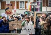Klimastreikende verschliessen die Augen, um symbolisch gegen untätige Politiker zu protestieren. (Bild: Andrea Stalder)