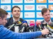 Uli Forte mit GCs neuem Präsidenten Stephan Rietiker (Bild: KEYSTONE/ENNIO LEANZA)