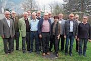 Präsident Michael Meier mit den neuen Superjubilaren. (Bild: Bilder: Paul Gwerder (Schattdorf, 12. April 2019))