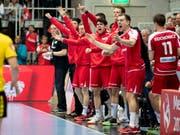 Die Schweizer Handballer hatten allen Grund zur Freude (Bild: KEYSTONE/CHRISTIAN MERZ)
