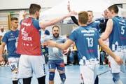 Volley Luzern mit Libero Jörg Gautschi (Mitte) schliesst die NLA-Saison auf Rang vier ab. Bild: Eveline Beerkircher (Luzern, 14. April 2019)