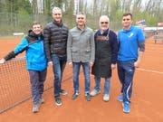 Der Vorstand des Aadorfer Tennisclubs: Matthias Trösch (Präsident), Paul Rupper (Aktuar), Patrick Zehnder (Finanzen), Werner Dätwyler (Wirt) und Raphael Tarnutzer (Platzverwalter). Es fehlt: Eric Bischofberger (Spielleiter)