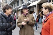 SWR-Filmemacher Hermann Abmayr, Alt-Bundesrat Moritz Leuenberger und Nationalrätin Edith Graf-Litscher (SP). (Bild: Claudio Thoma)