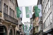 Auch in der Multergasse feiert der FC St.Gallen sein Jubiläum. (Bild: Adriana Ortiz Cardozo)