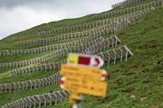 Lawinenverbauungen im Prättigau: In der Schweiz sind Naturgewalten und der Schutz davor allgegenwärtig. (Bild: Arno Balzarini/Keystone)