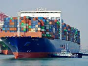 Container-Schiff in der ostchinesischen Hafenstadt Qingdao. (Bild: KEYSTONE/AP CHINATOPIX)