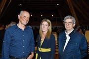 Paul Stahlberg, Evelyne Eberhart und Lukas Hoffmann stellten sich in der «Hirschenschüür» der Hohentanner Bevölkerung. (Bild: Manuel Nagel)