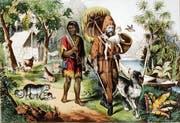 Überlebt in der Wildnis dank bürgerlichen Tugenden wie Fleiss und Bescheidenheit: Robinson Crusoe mit seinem devoten Gefährten Freitag. Darstellung aus dem Jahr 1875: (Bild: Keyston)