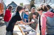 Die Archäologen zeigen den Besuchern, was sie im See vor Güttingen gefunden haben. (Bild: Andrea Stalder)