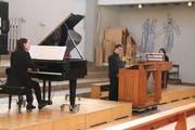 Barbara Swanepoel-Kreis (Flügel), Thomas Haubrich (Truhenorgel) und Dagmar Grigarova (Cembalo) spielen auf drei verschiedenen Tasteninstrumenten in der Kirche St. Stefan. (Bild: Barbara Hettich)