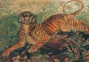 Gut gebrüllt, Tiger. Ligabue malte mit Vorliebe Raubtiere im Kampf oder mit erlegter Beute. (PD/Privatsammlung)