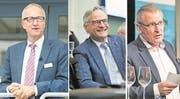 CVP-Ständeratskandidat Peter Hegglin, FDP-Ständeratskandidat Matthias Michel und SVP-Ständeratskandidat Heinz Tännler. (Bilder: LZ)