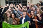 Die Grünen bejubeln ihren Wahlsieg in Luzern am 31. März dieses Jahres. (Bild: Philipp Schmidli)