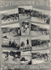 Eine Ansichtskarte mit Seltenheitswert: Sie zeigt die Rennen zur offiziellen Eröffnung der neuen Rennbahn.