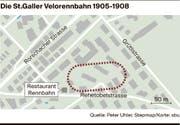 Die St.Galler Rennbahn auf dem heutigen Stadtplan eingezeichnet.