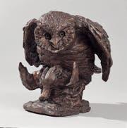 Eine Eule mit ihrer Beute. Bronzeplastik von Antonio Ligabue. (PD/Privatsammlung).