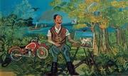 Antonio Ligabue porträtiert sich stolz als erfolgreicher Maler mit Staffelei und roter Moto Guzzi. (Bild: PD/Privatsammlung)