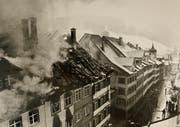 Das Feuer wurde um 9.45 Uhr entdeckt. Gegen Abend war es unter Kontrolle (Bild: Toggenburger Museum, Lichtensteig)