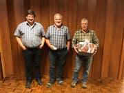 Die besten drei Kaiserjasser (von links): Kobi Schleiss (Rang 2), Sieger Toni Zumbühl, Klaus Töngi (Rang 3). (Bild: PD)