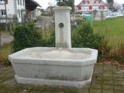 Bald wird er wieder hier stehen: der Brunnen von 1871 an seinem angestammten Ort im Löffelpark. (Bild: PD)