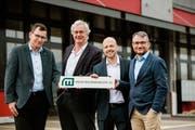 Von links: Thomas Wey (Verwaltungsrat), Markus Burgherr (Verwaltungsratspräsident), René Hantzsch (Geschäftsführer) und Stefan Moos (Verwaltungsrat und Geschäftsführer-Stellvertreter) (Bild: PD)