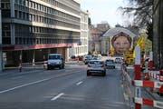 Der Untere Graben Anfang April: Die Verkehrsführung ist den bereits gestarteten Vorarbeiten für den Ausbau des UG25 angepasst. (Bild: Reto Voneschen - 3. April 2019)