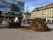 Die Aktionskünstlerin Barbara Kiener «zöpfelt» am Donnerstag auf dem Berner Bahnhofplatz Mist. (Bild: Therese Hänni Keystone-sda)