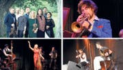 Sie treten am Festival Alpentöne 2019 auf: (von oben links, im Uhrzeigersinn) das Sharing Heritage Love Tree Ensemble, Trompeter Matthias Schriefl, Simone und Nicolò Bottasso sowie Deborah «Scheiny» Gzesh. (Bilder: PD)