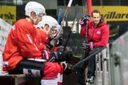 Trainer Patrick Fischer beim Training in Genf. (Bild: Pascal Müller / Freshfocus)