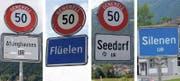 Um diese vier Gemeinden dreht sich die Diskussion: Soll hier künftig im Majorz- oder im Proporz-System gewählt werden? (Bilder: Corinne Glanzmann und Urs Hanhart)