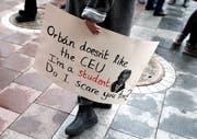 Ungarische Demonstranten setzen sich ein für die Central European University (CEU). (Bild: Bernadett Szabo/Reuters, Budapest, 24. November 2018)