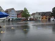 Noch ist der Landsgemeindeplatz in Appenzell leer – der Ring ist noch nicht geöffnet. (Bild: Luca Ghiselli)