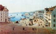 Hafen und Bahnhof im 1870, ein Jahr nach der Eröffnung der Seelinie. (Bild: Aquatinta von Rudolf Dikenmann)