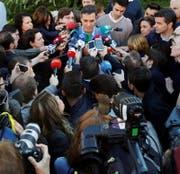 Regierungschef Pedro Sánchez nach seiner Stimmabgabe gestern in Madrid. (Bild: Emilio Naranjo/EPA, Madrid, 28. April 2019)