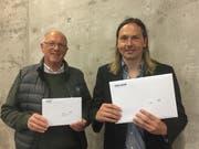 Die beiden Sieger des LZ-Jass 2019: Reto Helfenstein (rechts) und Werner Kraft. (Bild: Elisabeth Portmann, Luzern, 29. April 2019).