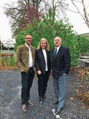 Der neue Verwaltungsratspräsident Rolf Domenig mit Nicole Nobs und Heinrich Eggenberger. (Bild: PD)