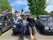 Das Team Slàinte mit Christian Hildebrand und Daniel Baldegger bei einer kurzen Pause vor der Zieleinfahrt im zürcherischen Fällanden. (Bild: PD)