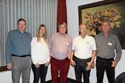 Der Vorstand mit Geschäftsstelle: Hermann Sutter, Käthi Sulser, Peter Brugger, Heinrich Berger, Turi Tomasi (von links). (Bild: Angela Adank)