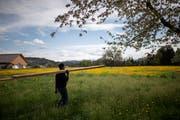 Fithawi Bereket erledigt auch andere anfallende Arbeiten auf dem Wasserbüffelhof. (Bild: Gian Ehernzeller/Keystone)