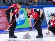 Genfer Teamwork in Kanada (von rechts): Benoît Schwarz, Sven Michel, Valentin Tanner (Bild: KEYSTONE/AP The Canadian Press/PAUL CHIASSON)